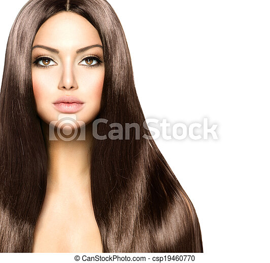 Beauty Woman with Long Healthy and Shiny Smooth Brown Hair - csp19460770