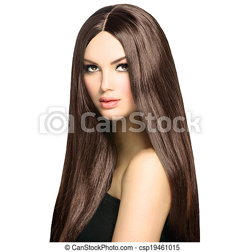 Beauty Woman with Long Healthy and Shiny Smooth Brown Hair - csp19461015