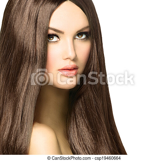 Beauty Woman with Long Healthy and Shiny Smooth Brown Hair - csp19460664