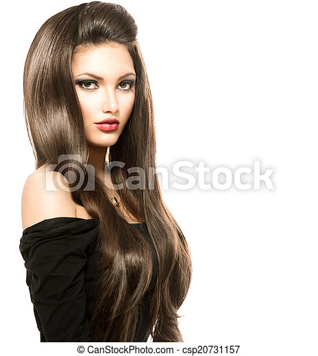 Beauty Woman with Long Healthy and Shiny Smooth Brown Hair - csp20731157