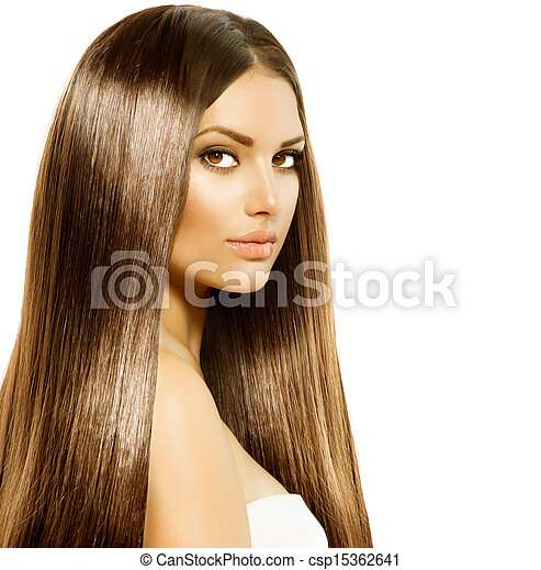 Beauty Woman with Long Healthy and Shiny Smooth Brown Hair  - csp15362641