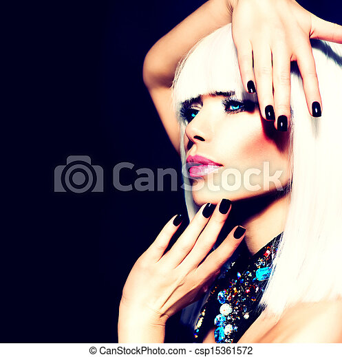 Beauty Woman with White Hair and Black Nails over Black  - csp15361572