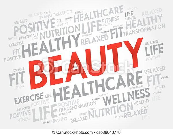 Beauty Word Cloud Fitness Sport Health Concept Vectors