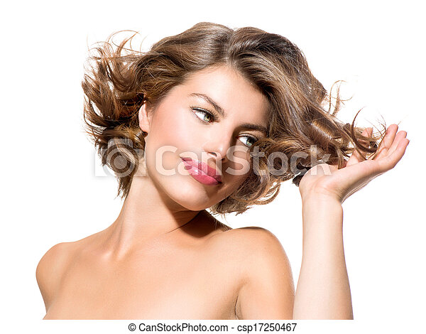 Beauty Young Woman Portrait Isolated over White Background - csp17250467