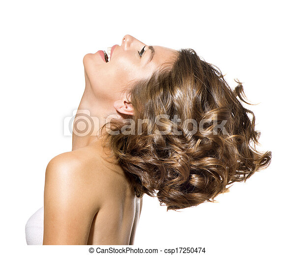 Beauty Young Woman Profile Portrait over White Background - csp17250474