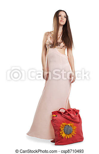 Beauty young woman walk in rose dress - csp8710493