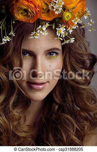 Beauty young woman with flowers and make up close up, real spring beauty girl - csp31888205