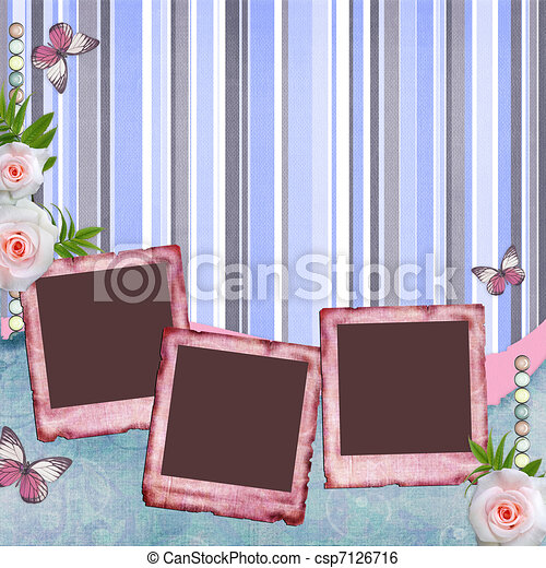 Beautyful album page in scrapbook style  with  paper frames for photo, butterfly, rose (1 of set) - csp7126716
