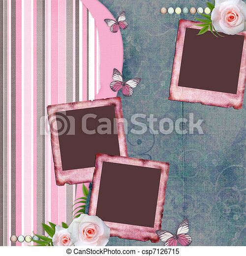 Beautyful album page in scrapbook style  with  paper frames for photo, butterfly, rose (1 of set) - csp7126715