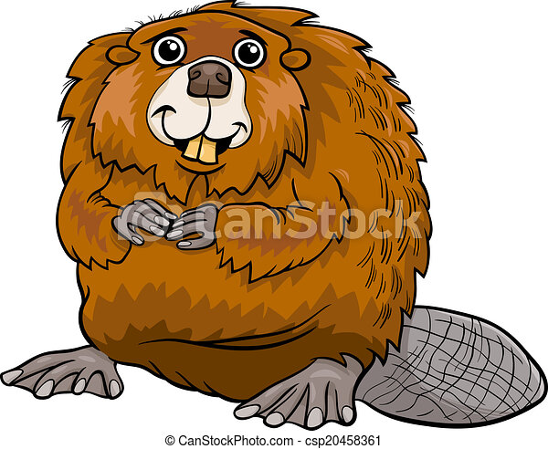 beaver animal cartoon illustration - csp20458361