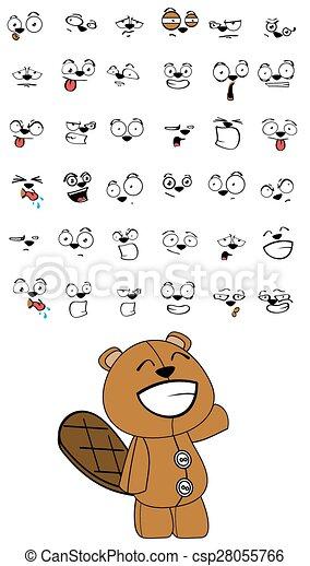 beaver plush cartoon expressions - csp28055766