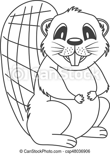 Beaver Cute Cartoon Linear Beaver Template For Coloring Vector