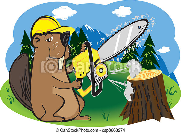 Beaver with Chainsaw - csp8663274