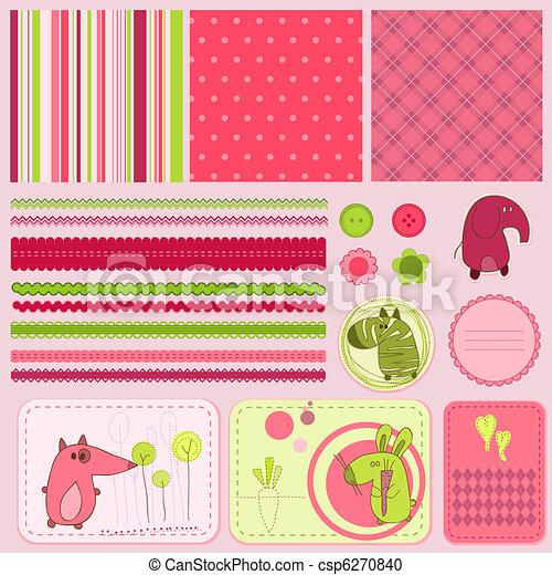 bebé, álbum de recortes, elementos, diseño - csp6270840