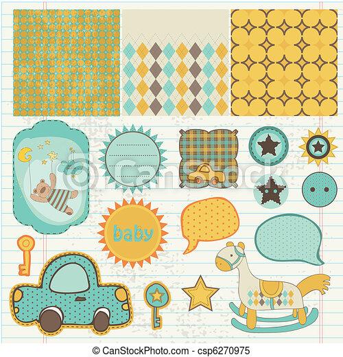 Los elementos de diseño para el álbum de recortes de bebés - csp6270975