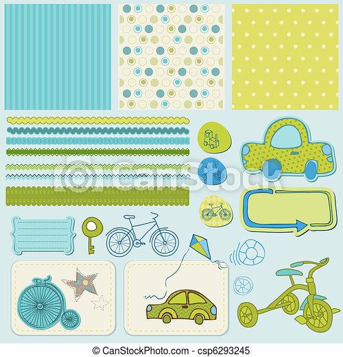Los elementos de diseño para el álbum de recortes de bebés - csp6293245