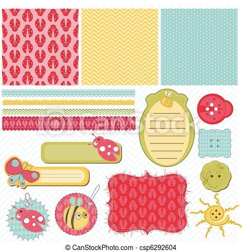 Los elementos de diseño para el álbum de recortes de bebés - csp6292604
