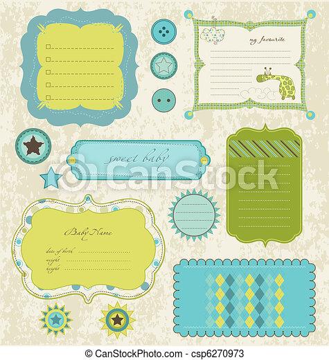 Los elementos de diseño para el álbum de recortes de bebés - csp6270973