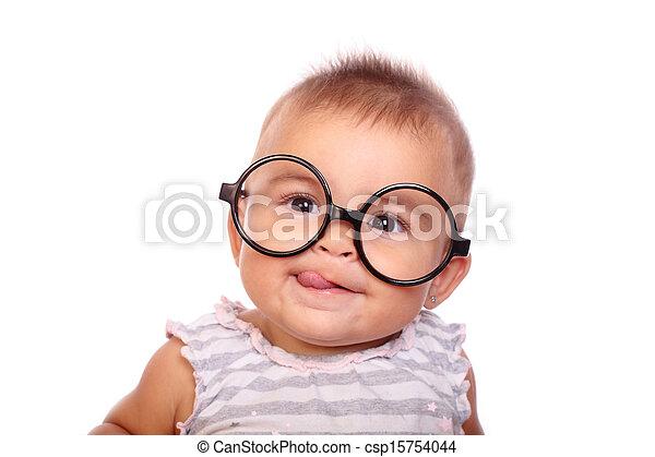 c8e60496ff Bebé, anteojos. Bebé hermoso, anteojos, retrato.