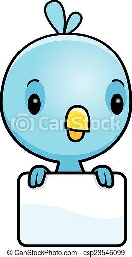 Señal de pájaro azul de dibujos animados - csp23546099