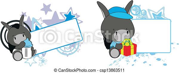 Pañuelo de dibujos animados de burro - csp13863511