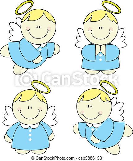bebé, conjunto, ángeles - csp3886133