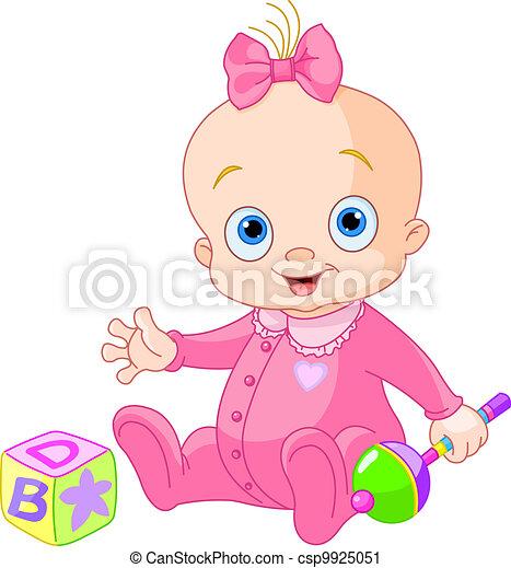 bebé, dulce, niña - csp9925051