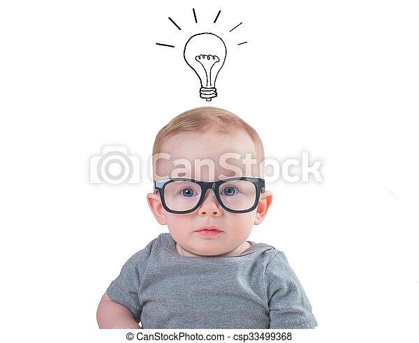 f90c0a6380 Bebé, elegante, anteojos. Background?, aislado, bebé, blanco ...