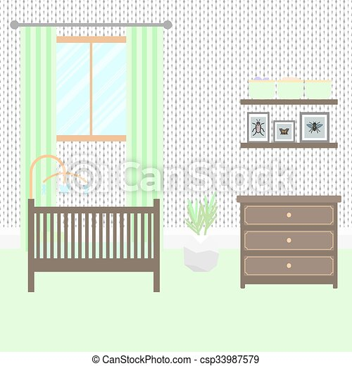 Bebé, guardería infantil, habitación, furniture., interior. Vector ...