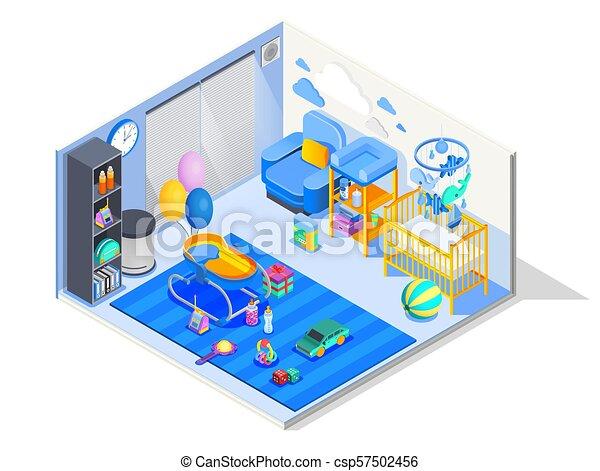 Bebé, isométrico, habitación, composición. Guardería infantil, juego ...