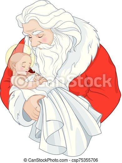 bebé jesús, santa - csp75355706