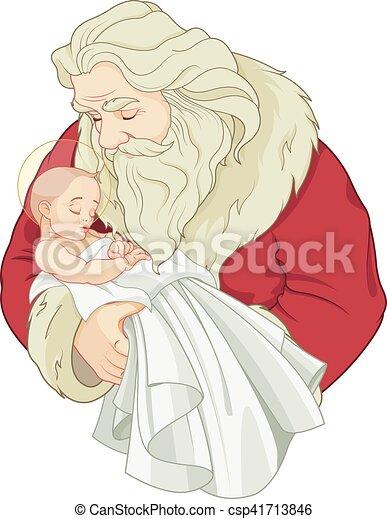 Santa y el bebé Jesús - csp41713846