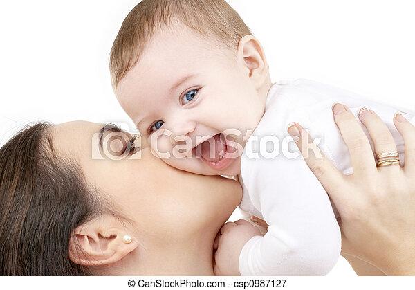 bebé, juego, reír, madre - csp0987127