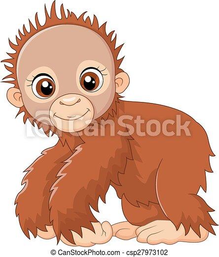 Cartoon lindo un mono bebé - csp27973102