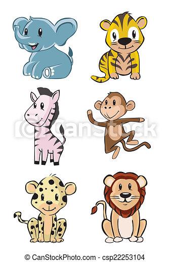 Lindo juego de bebés de safari de animales - csp22253104