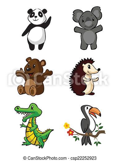 Lindo juego de bebés de safari de animales - csp22252923