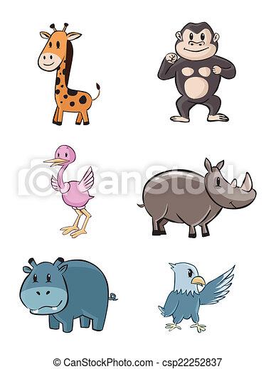 Lindo juego de bebés de safari de animales - csp22252837