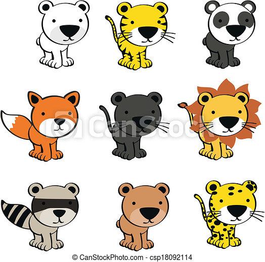 Bebé lindos animales dibujos animados - csp18092114