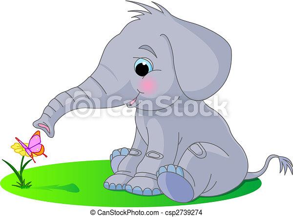 bebé, lindo, elefante - csp2739274