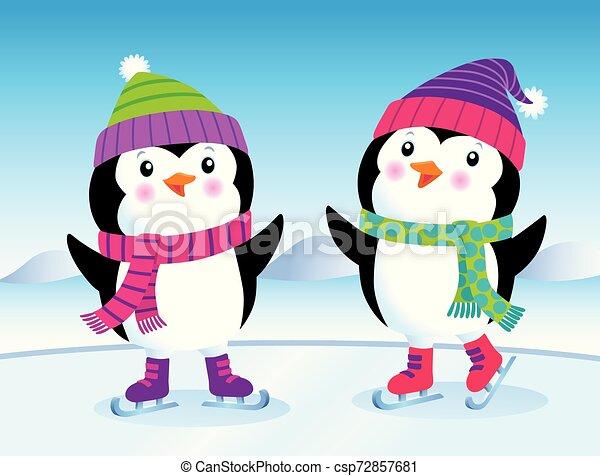 Lindos pingüinos bebés en patines de hielo - csp72857681