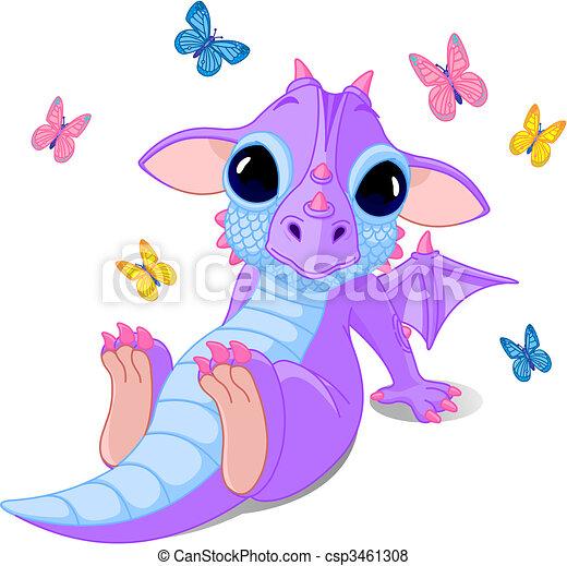 bebé, lindo, sentado, dragón - csp3461308