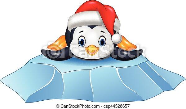 Lindo pingüino bebé en témpano de hielo - csp44528657