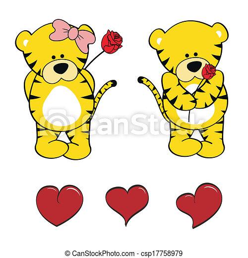 Un lindo juego de dibujos animados de bebé tigre - csp17758979