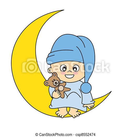 Niño en la luna - csp8552474