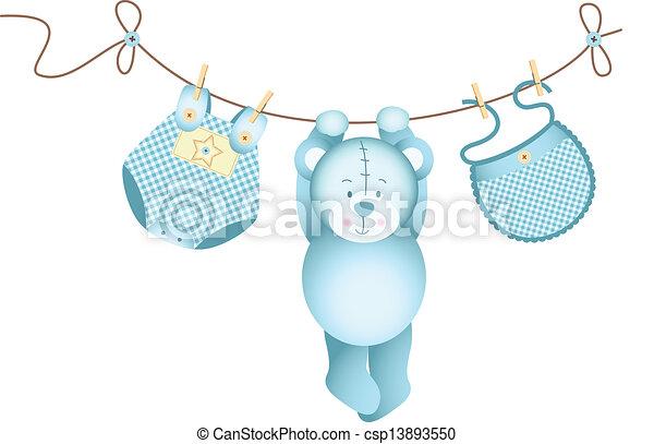 El bebé de peluche colgando - csp13893550