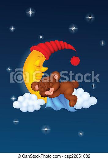 Bebé oso durmiendo en la nube - csp22051082