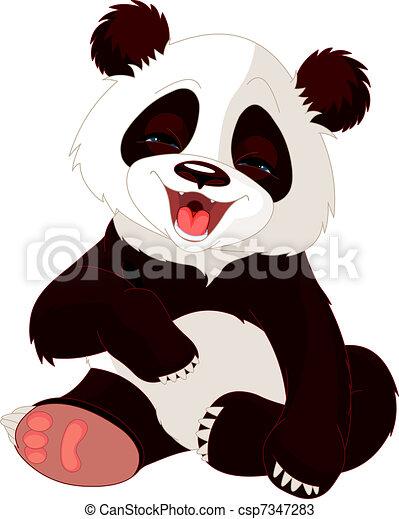 Bebé panda riéndose - csp7347283