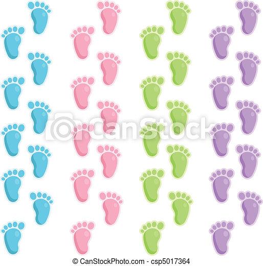 bebé, pasos de pie - csp5017364