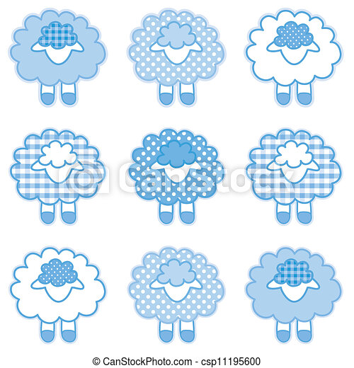 Corderos, parches, azul pastel - csp11195600