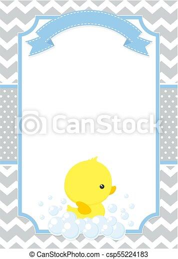 Bebé, pato, invitación. Puntos, lindo, poco, galón, ducha, patrón ...